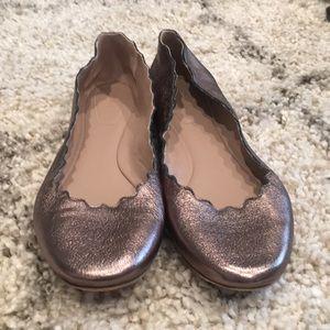 Chloe Bronze Metallic Lauren Leather Flats
